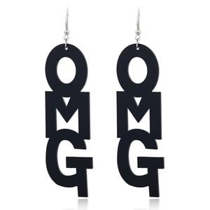 Creative Lettres géométriques Charms feuille acrylique Acetic Acid Hot Ear Stud Vintage OMG Déclaration longue pour les femmes Pendants d'oreilles