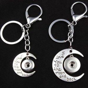 6pcs / Lot Fermoir snap Porte-clés Je Keyring Love You To The Moon And Back Porte-clés Diy 18mm 12mm Bouton de bijoux en gros