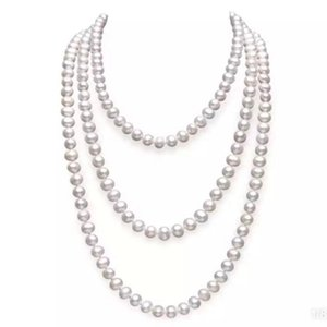 Women's Exquisite Long Pearl Necklace Bride Weddings Gift Fine Jewelry Pearl Sweater Chains