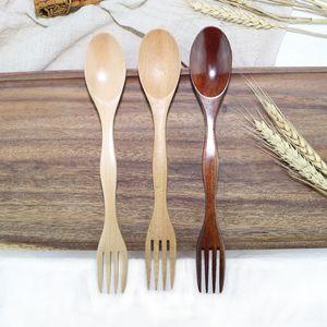Madeira Faqueiro Fork Colher 2 em 1 Dual Head Soup Spoon Fork portátil Louça Ice Cream Colher Salad Fork Student Louça BH3242 TQQ