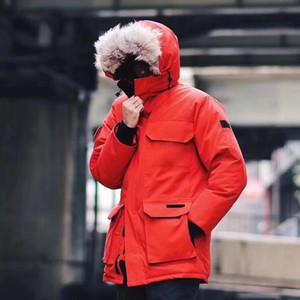 Klassische Parker Wolf Haar G00SE Außen lange unten Jacke der EXPED1TION Solid Color Mann Frauen TOP Qualität Paar Winter warm Park Mantel HFLSYRF092