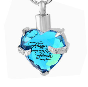 Cremation Jewelry Heart Birthstone Pendant Urn Necklace Memorial Ash Keepsake for Ashes Memorial+Snake Chain