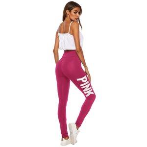 여성 핑크 요가 바지 높은 허리 스포츠 체육관 착용 레깅스 탄성 피트니스 레이디 전반적으로 전체 타이츠 운동 디자이너 스타킹