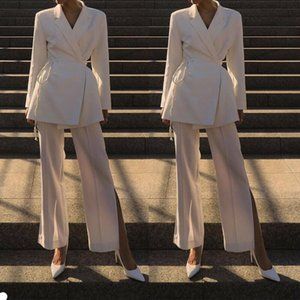 White Long Evening Dresses 2 Pieces V Neck Long Sleeve Pants Suits Formal Party Prom Wear Gowns