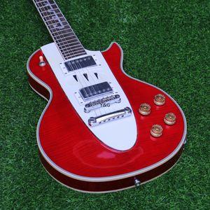 Qualidade LP Corvette guitarra alta elétrica Figured bordo Top Veneer Grover Tuner