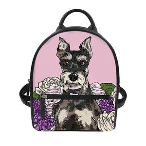 Tasarımcı-THIKIN Moda Kız Küçük Sırt Çantası Karikatür Schnauzer Koleji Kızlar Mini Omuz Çantası Kadın PU Deri Sırt Çantası Casual Bag yazdır