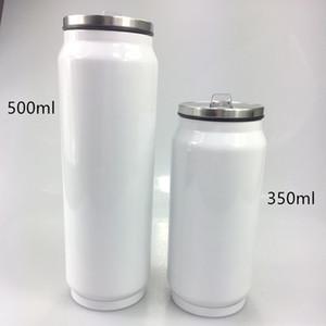 350 ml en blanco sublimación Cola con tapa y botellas de acero inoxidable paja Cola de doble pared taza de café