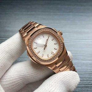 Luxus-Dame Uhr Nautilus Edelstahl 4813 automatische mechanische 5713 1G-010 der Frauen Sport-Qualitäts-Diamant gefror heraus Uhr 35m