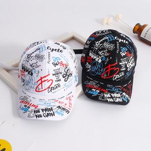 Quan Zhilong Graffiti Baseballkappe Buchstaben bestickt koreanische Harajuku Männer und Frauen Paare reisen gebogen Hat Cap neu