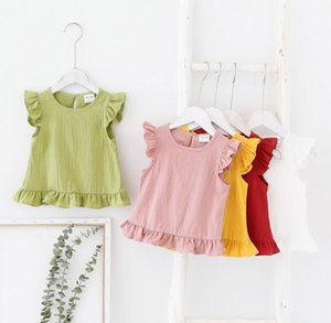 2020 INS Girl kids clothes Sleeveless Solid Color shirt Round Collar Shirt Summer Simple style girl TOP 100% cotton Clothing