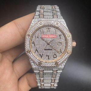 Entusiasta orologio da polso da uomo Ice Diamond Watch Orologio a conchiglia in acciaio inossidabile Orologio con cinturino in oro bi-rosa Orologi meccanici automatici