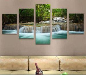 Cascada grande pacífica 5 paneles Impresión moderna de la lona Obra de arte Imágenes del paisaje Pinturas fotográficas sobre lienzo Arte de la pared