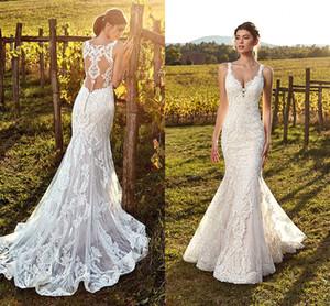 2019 Nuevo diseñador completo de encaje sirena vestidos de novia correas espaguetis palabra de longitud vestido de novia vestidos de novia batas de mariée vestido de novi