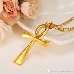 Ankh Big bowknot colar de pingente Cruz Timeless Cadeia Mulher Mens 22k sólido amarelo Ouro Fino GF Liso Hieróglifos Crux Ansata