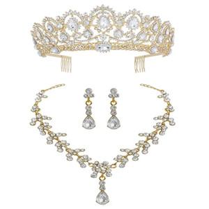 Luxe Ensemble de bijoux en argent Diadème en cristal couronne avec peigne mariée perle d'or Ensemble de bijoux pour cheveux Accessoires de mariage Tiara de Noiva