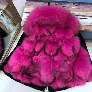 100% genuino reale del cappotto di pelliccia parka con pelliccia di procione con cappuccio per giacche ragazze bambini per una per bambini Boy Frangivento