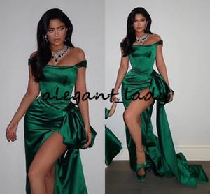 Изумрудный Русалка Пром вечерние платья 2020 Sexy Side Silt плеча баски Плюс Размер Evening Red Carpet платье знаменитости