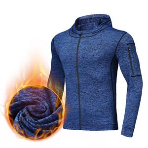 Inverno Uomo Esecuzione di rivestimenti del cappotto caldo velluto Maglia Uomo Outdoor Sport Fitness Tennis Calcio con cappuccio Braccio tasca con cerniera