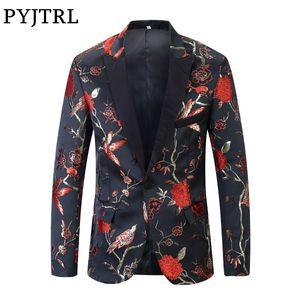 PYJTRL New Red Ouro Azul Verde Brocado Bordado Floral Padrão de Pássaros Slim Fit Designs Blazer Homens Terno Jaqueta Palco Wear Singer