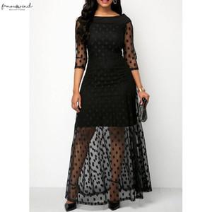 Women Long Polka Dot Maxi Dress Summer Boho Party Lace Mesh Clubwear Sundress Bodycon Formal Prom Sheer Black Vestido