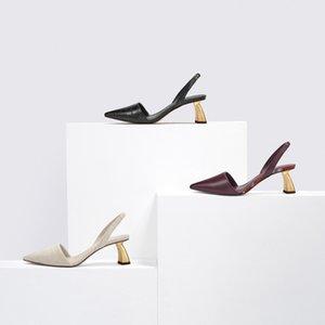 Sandals Celebrity Style Sandals Women's High-Heel Metal yi xing gen Pointed-Toe High Heel Shoes Chunky-Heel Low-Cut WOMEN'S Shoe