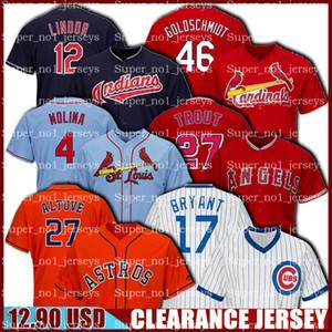 Räumungs Jose Altuve Jersey Kris Bryant Jerseys Yadier Molina Jersey Mike Trout Francisco Lindor Paul Goldschmidt Günstige Baseball-Shirt aus 123