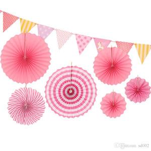 Pull Costume De Fleur Suspendus Ornement Rond En Papier Fold Fan Couleur Stéréoscopique Anniversaire Fête De Mariage Décoration Fournitures Creative 8 5xlC1