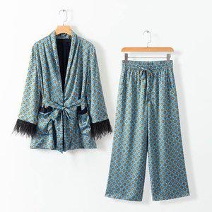2020 Frühlings-Frauen Weinlese-Druck Blazer mit Gürtel Harajuku Kimono Mantel-Tasche Feder Quaste Outwear Damen Sakkos Korean