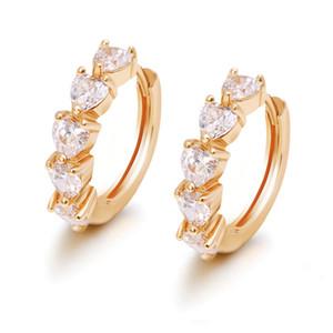 (348E) nuovo 18K placcato oro degli orecchini del cerchio del cuore per le donne con la CZ Gems