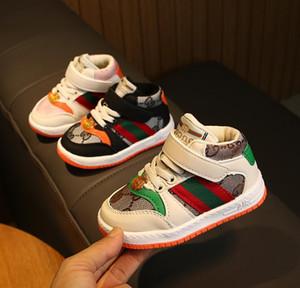 Los zapatos para niños otoño invierno para niños Casual zapatos calientes muchachas de los bebés de los niños zapatillas transpirable suave Running Calzado deportivo Tamaño 21-25