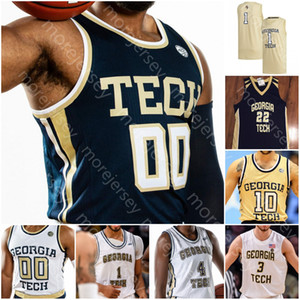 Georgia Tech sur mesure Yellow Jackets Basketball Jersey NCAA Derrick Favors Josh Okogie Kenny Anderson Matt Harpring Jack Prix Jeune