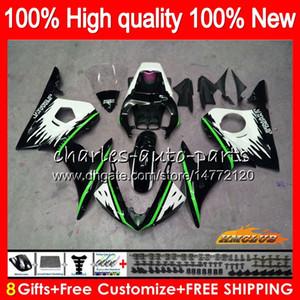 Bodys para a Yamaha YZF R6 S verde branco YZF600 YZFR6S YZFR6S 06-09 60HC.124 YZF600 YZF R6S 06 07 08 09 2006 2007 2008 2009 Fairing + 8Gifts