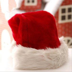 봉제 빨간 산타 클로스 모자 크리스마스 모자 두꺼운 겨울 따뜻한 봉제 산타 클로스 모자 크리스마스 성인 크리스마스 장식 모자 LJJA3386