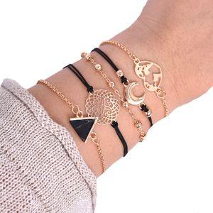 S1022 Hot Fashion Jewelry Bracelet Set Triangle Black Stone Map Moon Beads Layered Bracelets 5pcs set