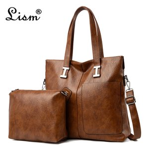 Large capacity ladies handbag soft PU leather ladies shoulder messenger bag 2020 new luxury designer 2-piece female bag