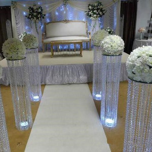 Crystal column Wedding walk way flower stand stage venue arylic crystal column pillar for wedding party decoration EEA339