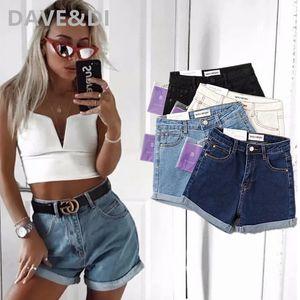 Dave&Di INS fashion blogger high street vintage roll up high waist stretch sexy push up mom denim shorts women short feminino