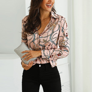 Drucken Hot Spring Frauen-Leopard-Knoten vorn Bluse Shirt Büro-Dame Elegante Turn-Down-Kragen Langarm T-Shirt Button Street