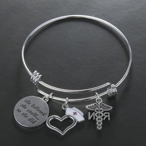 Nurse Hat Angel Heart Letters Pendant Charm Bangles Handmade Bracelets For Women Men Bangles Jewelry Souvenir Lucky Gift