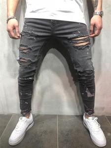 Moda Dökümlülük Skinny Erkek Kalem Pantolon Casual Erkek Giyim Düzensiz Delik Kasetli Mens Jeans Yıkanmış