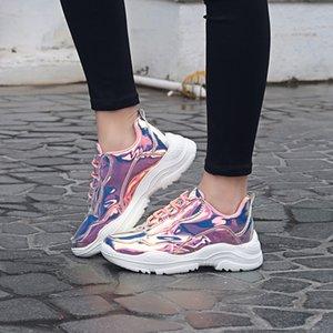 Jaycosin Sıcak !!! Her Mevsim kadın Trend Renkli Sneakers Kalın Alt Kaymaz Rahat Düz Ayakkabı 2019 Apr18 p40