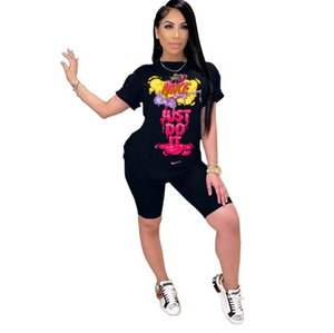 2020 New Casual Womens 2 Piece Set Letter Short Sleeve Tops T Shirts and Skinny Pants Women Set