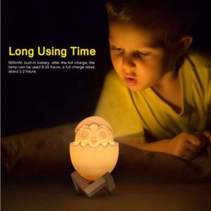 LED 3D Printing Egg Shell Lamp Night Light carregamento USB Touch Control Xmas Presentes Table Desk Lamp Home Decor