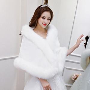 2018 зима свадебный из искусственной меховой шали для свадебного платья и вечернее платье белые красные женщины обертывают шаль с искусственной лисикой