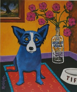 George Blue Dog Rodrigue Absolut Rodrigue Home Decor pintado à mão HD Imprimir pintura a óleo sobre tela Wall Art Canvas Pictures 200113