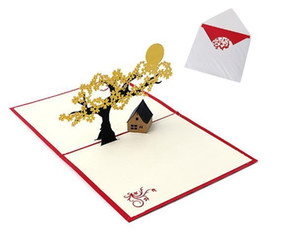 3D Pop UP Holiday Greeting Cards Cherry Tree House Christmas Thanksgiving Gift 60pcs
