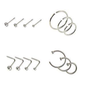 Titanium aço inoxidável Nose Brinco Studs Rings 7 C Forma na moda Bling Gems lábio sobrancelha língua Body Piercing Jewelry 14PCS Mixed / set