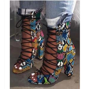 grano stile serpente Roma pizzo stampato in alto spessore tacchi alti scarpe da donna di design di lusso tacchi di design di moda