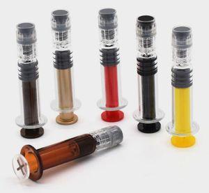 émbolo colorido 1 ml Jeringa de vidrio luer lock vape almacenamiento de aceite grueso CO2 aceite vape pluma Desechable de un solo uso Luer Cone Jeringas precargadas