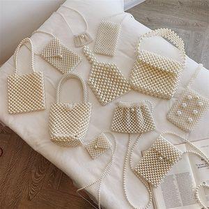 Tasarımcı dokuma İnci Çanta Lady Boncuklu Omuz Çantası Kadınlar Partisi Vintage Çanta Ins Küçük Flap Çanta Mini Çapraz vücut